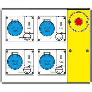 scame scame quadro d'alimentazione da cantiere con pulsante di emergenza mbox2 656.5824-113