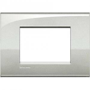 bticino livinglight air placca 3 moduli colore  argento lunare lnc4803gl