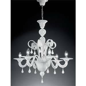 vetrilamp vetrilamp sospensione 6 lampadine attacco e14 bianco 911/6/bi
