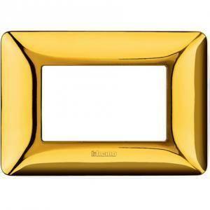 bticino matix placca 3 moduli tecnopolimero colore oro lucido am4803gor