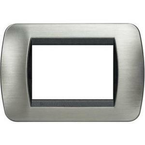 bticino livinglight placca 3 moduli color acciaio spazzolato cornice nera l4803acs