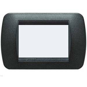 bticino livinglight placca 3 moduli colore nero grafite cornice nera l4803gfn