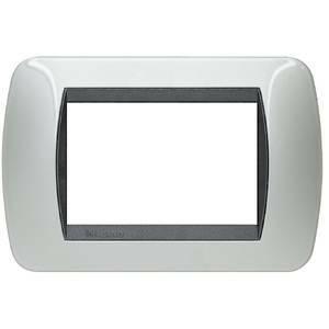 bticino livinglight placca 3 moduli color alluminio cornice nera l4803al