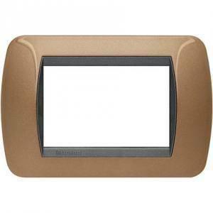 bticino livinglight placca 3 moduli colore bronzo ossidato cornice nera l4803bo