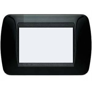 bticino livinglight placca 3 moduli colore nero cornice nera l4803nr