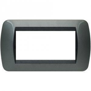 bticino bticino livinglight placca 4 moduli colore acciaio cornice nera l4804ac