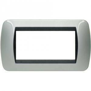 bticino bticino livinglight placca 4 moduli colore alluminio cornice nera l4804al