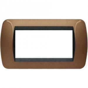 bticino livinglight placca 4 moduli colore bronzo cornice nera l4804bo