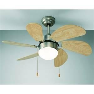 perenz ventilatore cromo satinato 6 pale con kit luce 1xe27 max 60w diametro 76 7085cr