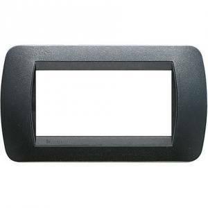 bticino livinglight placca 4 moduli colore acciaio scuro cornice nera l4804pa