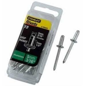stanley confezione 15 pezzi rivetti in alluminio 4,7x3mm 1paa62t