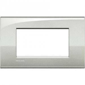 bticino livinglight air placca 4 moduli colore argento lunare lnc4804gl