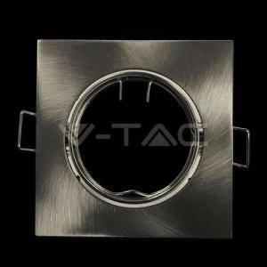 v-tac faretto ad incasso quadrato orientabile attacco gu10 colore nickel satinato 3591