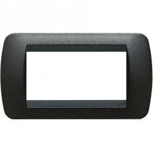 bticino livinglight placca 4 moduli nero grafite cornice nera l4804gfn