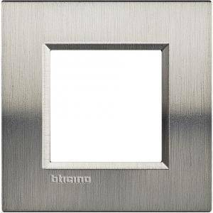 bticino livinglight placca 2 moduli colore  acciaio spazzolato lna4802acs