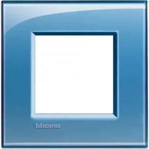 bticino livinglight placca 2 moduli colore azzurro lna4802ad