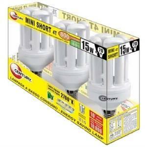 century box 3 lampadina fluorescente attacco piccolo e14 15>70w luce calda 2700k 220-240v bb4s-151427