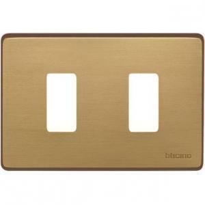 bticino magic placca 2 posti alluminio bronzo 503/2/br