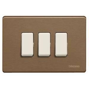 bticino magic placca 3 posti alluminio bronzo 503/3/br