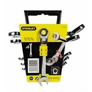 stanley stanley set 6 chiavi combinate a cricchetto reversibili e snodate 4-91-444
