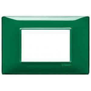 vimar plana placca 3 moduli tecnopolimero colore reflex smeraldo 14653.47