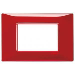 vimar plana placca 3 moduli tecnopolimero colore reflex rubino 14653.51