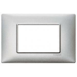 vimar plana placca 3 moduli  metallo colore  argento metallizzato 14653.71