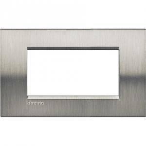 bticino livinglight placca 4 moduli  colore acciaio spazzolato lna4804acs