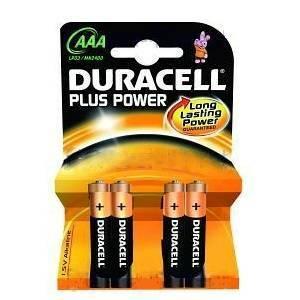 duracell plus power aaa mn2400 4 batterie ministilo