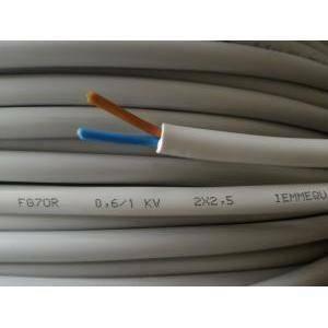 cavi cavo pvc isolato fg70r 2 conduttori da 2,5 mm di sezione al metro fg7-2x2,5