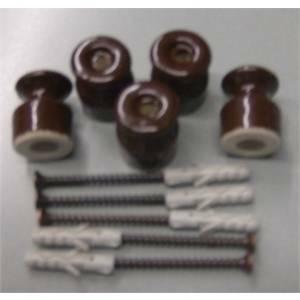 electraline 5 isolatori in porcellana con viti e tasselli marroni 01202/b5