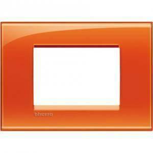 bticino livinglight placca quadra 3 moduli colore arancio deep lna4803od