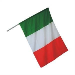 elettroservice bandiera italia 100 x 70 cm + bastone bandiera