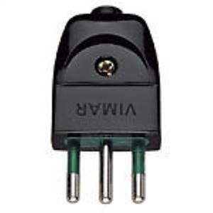 vimar spina 2p+t 10a standard 11 italiano uscita cavo assiale colore nera 0a00201n