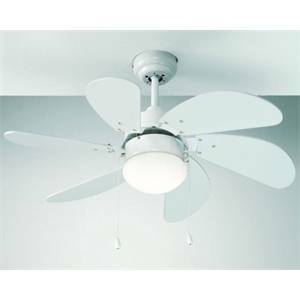 perenz perenz ventilatore 6 pale bianco con luce 7085b