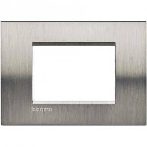bticino livinglight placca 3 moduli colore acciaio spazzolato lna4803acs