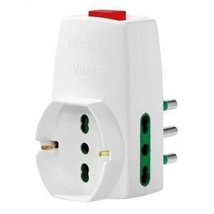 vimar adattatore s17 + 2p17 + universale + interruttore colore bianco 0p00331.b