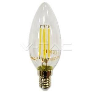 v-tac lampadina candela led filamento 4w attacco e14 luce calda 4301