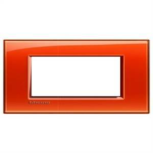 bticino livinglight placca 4 moduli colore arancio deep lna4804od
