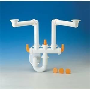 idro-bric sifone salvaspazio per lavello cucina a due vasche lira spazio 2 s0285