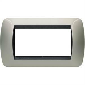bticino livinglight placca 4 moduli colore titanio chiaro cornice nera l4804tc