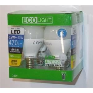 elettroservice box 4 lampadine mini globo led 5,6w e14 luce calda e4h1g-061430
