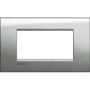 bticino livinglight placca 4 moduli colore argento lunare lna4804gl