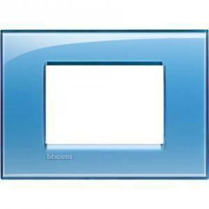 bticino livinglight placca 3 moduli colore azzurro lna4803ad