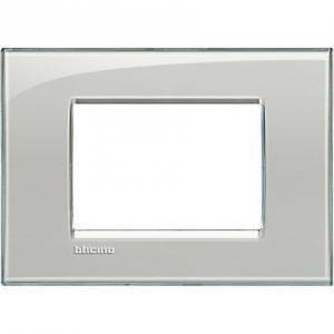 bticino bticino livinglight placca 3 moduli colore grigio ghiaccio lna4803kg