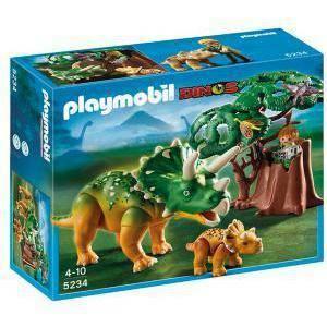 playmobil esploratore e triceratopo con cucciolo