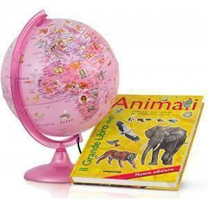 tecnodidattica tecnodidattica mappamondo rosa zoo con libro animali