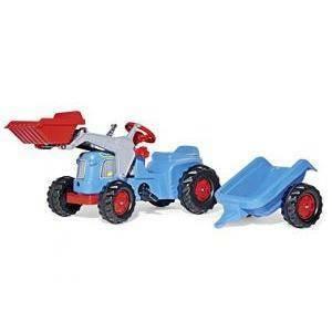rolly toys rolly toys trattore blu con rimorchio e ruspa