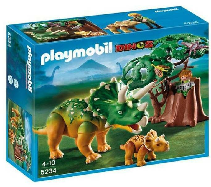 playmobil playmobil esploratore e triceratopo con cucciolo