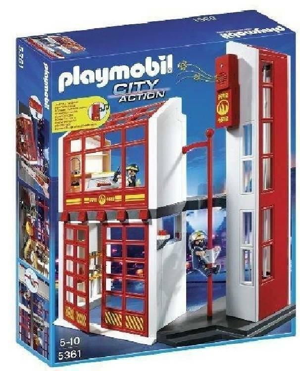 playmobil playmobil stazione vigili del fuoco con allarme